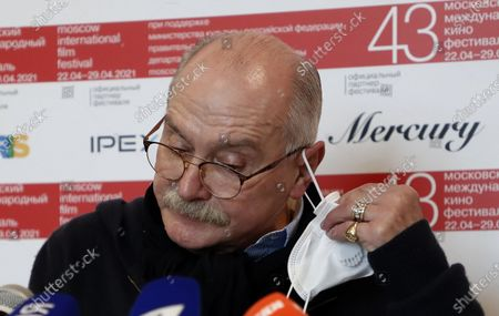 Stock Picture of Russian filmmaker and the festival director Nikita Mikhalkov speaks during a news conference before the closing ceremony of the 43st Moscow International Film Festival at the Rossiya Theatre in Moscow, Russia, 29 April 2021.