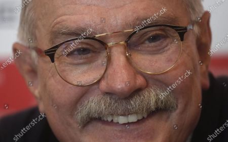 Russian filmmaker and the festival director Nikita Mikhalkov speaks during a news conference before the closing ceremony of the 43st Moscow International Film Festival at the Rossiya Theatre in Moscow, Russia, 29 April 2021.