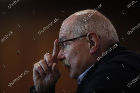 Stock Image of Russian filmmaker and the festival director Nikita Mikhalkov speaks during a news conference before the closing ceremony of the 43st Moscow International Film Festival at the Rossiya Theatre in Moscow, Russia, 29 April 2021.
