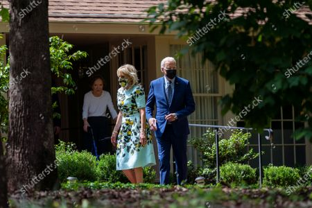 Former first lady Rosalynn Carter looks on as President Joe Biden and first lady Jill Biden leave the home of former President Jimmy Carter during a trip to mark Biden's 100th day in office, in Plains, Ga