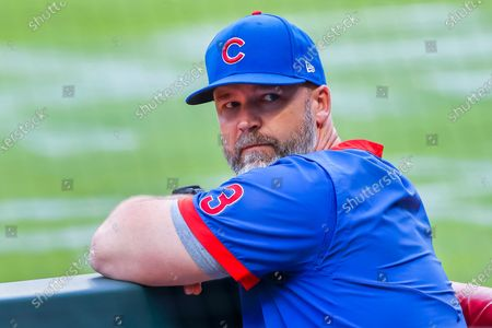 Chicago Cubs manager David Ross in the dugout before the first pitch of the MLB baseball game between the Chicago Cubs and the Atlanta Braves at Truist Park in Atlanta, Georgia, USA, 29 April 2021.