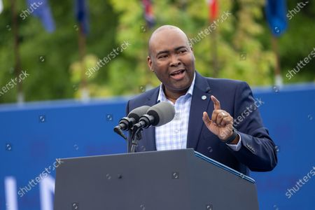 Stock Picture of DNC Chairman Jaime Harrison speaks at a drive in rally for President Biden celebrating his 100 days in office, in Duluth, Georgia on April 29th, 2021.
