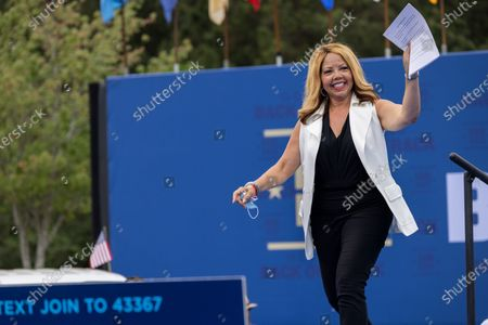 Congresswoman Lucy McBath (D-GA) arrives at a drive in rally for President Biden celebrating his 100 days in office, in Duluth, Georgia on April 29th, 2021.