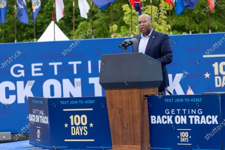 DNC Chairman Jaime Harrison speaks at a drive in rally for President Biden celebrating his 100 days in office, in Duluth, Georgia on April 29th, 2021.
