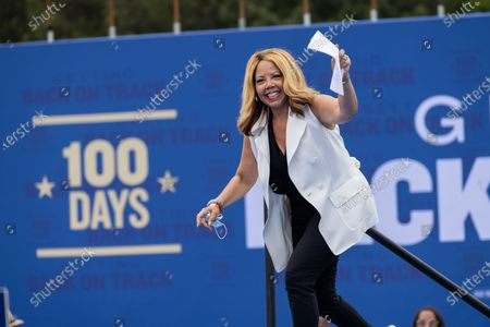 Stock Picture of Congresswoman Lucy McBath (D-GA) arrives at a drive in rally for President Biden celebrating his 100 days in office, in Duluth, Georgia on April 29th, 2021.
