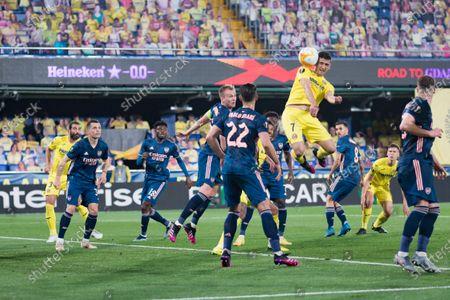 Gerard Moreno of Villarreal CF and Pablo Mari Villar of Arsenal FC are seen in action during the UEFA Europa League Semi Final First Leg football match between Villarreal and Arsenal at Estadio de la Ceramica. (Final score; Villarreal CF 2:1 Arsenal FC )