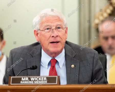 Stock Picture of U.S. Senator Roger Wicker (R-MS) speaks at a hearing of the Senate Commerce, Science, and Transportation committee.