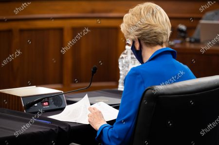 U.S. Senator Elizabeth Warren (D-MA) speaks at a hearing of the Senate Commerce, Science, and Transportation committee.