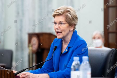 Stock Image of U.S. Senator Elizabeth Warren (D-MA) speaks at a hearing of the Senate Commerce, Science, and Transportation committee.