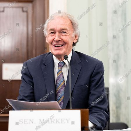 Stock Image of U.S. Senator Ed Markey (D-MA) speaks at a hearing of the Senate Commerce, Science, and Transportation committee.