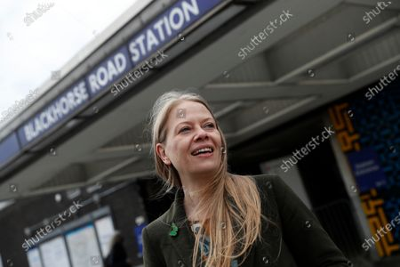 The Green Party candidate for London mayor Sian Berry speaks to the media in north east London, during a campaign stop for the election. Brexit and the coronavirus pandemic have hit London in a perfect storm. On May 6, Londoners will elect a mayor, whose performance will help determine whether this is the start of a period of decline for Europe's biggest city - or a chance to do things better