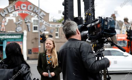 Stock Picture of The Green party candidate for London mayor Sian Berry speaks to the media in north east London, during a campaign stop