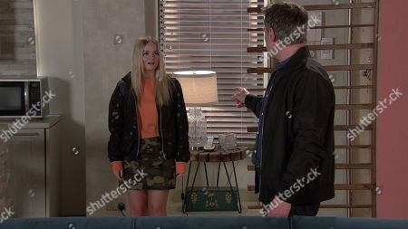 Coronation Street - Ep 10323 Wednesday 12th May 2021 - 1st Ep Corey Brent's dad Stefan Brent, as played by Paul Opacic, tells him to cut all ties with Kelly Neelan, as played by Millie Gibson.
