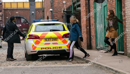 Coronation Street - Ep 10321 Monday 10th May 2021 - 1st Ep The police call at the builder's yard flat and arrest Kelly Neelan, as played by Millie Gibson. Toyah Battersby's, as played by Georgia Taylor, stunned.