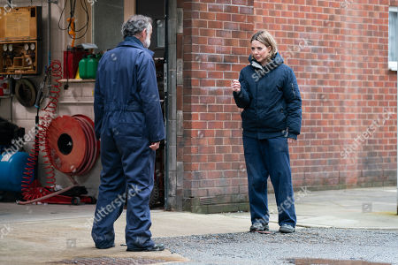 Coronation Street - Ep 10315 Monday 3rd May 2021 - 1st Ep Abi Franklin, as played by Sally Carman, assures Kevin Webster, as played by Michael Le Vell, that nothing will spoil their day despite him falling out with Tyrone but her day goes from bad to worse with a series of setbacks sending her stress levels through the roof.