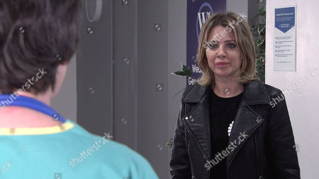 Stock Image of Coronation Street - Ep 10320 Friday 7th May 2021 - 2nd Ep The doctor tells Abi Franklin, as played by Sally Carman, that Seb's tests were inconclusive so they're going to repeat them. Abi does her best to remain positive.