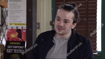 Stock Image of Coronation Street - Ep 10317 Wednesday 5th May 2021 - 1st Ep Seb Franklin, as played by Harry Visinoni, is delighted when his mum Abi Franklin, as played by Sally Carman, asks him to give her away and presents her with the necklace.
