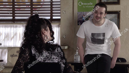 Stock Photo of Coronation Street - Ep 10315 Monday 3rd May 2021 - 1st Ep As Nina Lucas, as played by Mollie Gallagher, and Seb Franklin, as played by Harry Visinoni, scour the internet for a suitable necklace for Abi on her wedding day, Seb makes a light hearted comment about buying her an engagement ring. Roy Cropper's troubled.