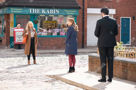 Stock Picture of Coronation Street - Ep 10325 & Ep 10326 Friday 14th May 2021  Laura Neelan, as played by Kel Allen, tells Imran Habeeb, as played by Charlie de Melo, and Toyah Battersby, as played by Georgia Taylor, that once Kelly's been released, she's coming to live with her as she wants her daughter back. Imran's fuming.