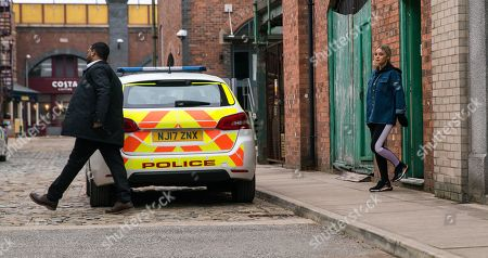 Coronation Street - Ep 10321 Monday 10th May 2021 - 1st Ep The police call at the builder's yard flat and arrest Kelly Neelan, as played by Millie Gibson. Toyah Battersby's stunned.