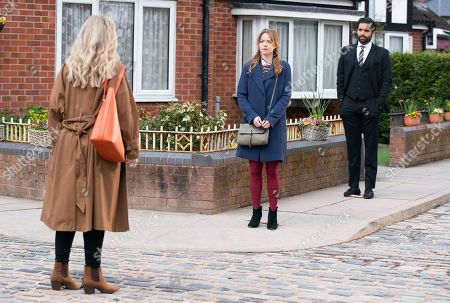 Coronation Street - Ep 10325 & Ep 10326 Friday 14th May 2021  Laura Neelan, as played by Kel Allen, tells Imran Habeeb, as played by Charlie de Melo, and Toyah Battersby, as played by Georgia Taylor, that once Kelly's been released, she's coming to live with her as she wants her daughter back. Imran's fuming.