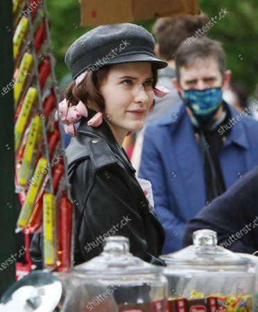 Rachel Brosnahan on set of The Marvelous Mrs. Maisel at Washington Square Park
