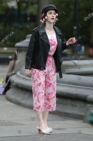 Stock Photo of Rachel Brosnahan on set of The Marvelous Mrs. Maisel at Washington Square Park