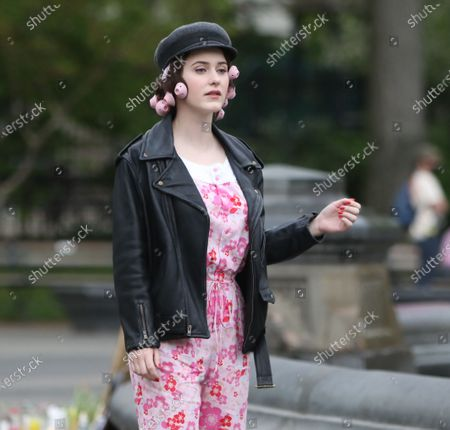 Stock Picture of Rachel Brosnahan on set of The Marvelous Mrs. Maisel at Washington Square Park