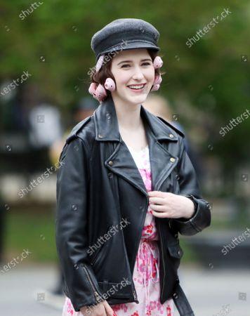 Stock Image of Rachel Brosnahan on set of The Marvelous Mrs. Maisel at Washington Square Park