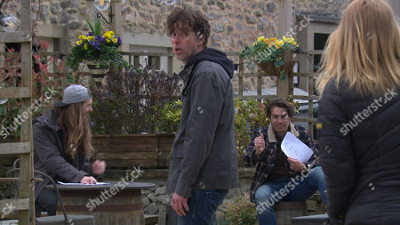 Emmerdale - Ep 9048 Friday 14th May 2021 Marlon Dingle, as played by Mark Charnock, tries to lay down the law to his prospective new tenants Ryan Stocks, as played by James Moore, and Mack, as played by Lawrence Robb, but he's already on the back foot, watched by Charity Dingle, as played by Emma Atkins.