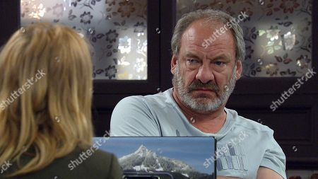 Emmerdale - Ep 9042 Friday 7th May 2021 Charity Dingle, as played by Emma Atkins, grills Jimmy King, as played by Nick Miles.