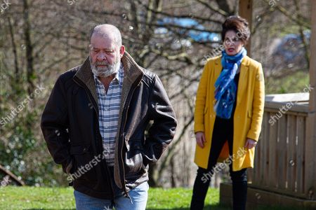 Stock Photo of Emmerdale - Ep 9040 Thursday 6th May 2021 - 1st Ep Bear Wolf's, as played by Joshua Richards, furious to see Faith Dingle, as played by Sally Dexter, flirting with Pollard again, how will he get his revenge?