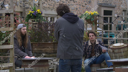 Emmerdale - Ep 9048 Friday 14th May 2021 Marlon Dingle, as played by Mark Charnock, tries to lay down the law to his prospective new tenants Ryan Stocks, as played by James Moore, and Mack, as played by Lawrence Robb, but he's already on the back foot.