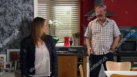 Emmerdale - Ep 9044 Tuesday 11th May 2021 Nicola King's, as played by Nicola Wheeler, shocked to discover Jimmy King's, as played by Nick Miles, invited Juliette Holliday over for a discussion and can't believe it when he opens up to her about Carl's silence and suggests she take him out to see if she can get him to open up.