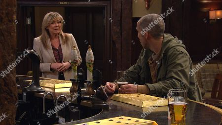 Emmerdale - Ep 9044 Tuesday 11th May 2021 Cain Dingle's suspicious when a woozy Kim Dingle, as played by Claire King, offers to Sam Dingle, as played by James Hooton, to check-in on Lydia who's still distraught over all the rumours circulating about her.