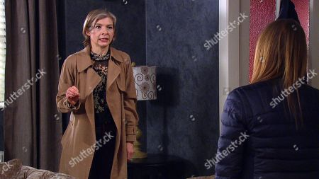 Emmerdale - Ep 9044 Tuesday 11th May 2021 Nicola King's, as played by Nicola Wheeler, shocked to discover Jimmy King's invited Juliette Holliday, as played by Amelia Curtis, over for a discussion and can't believe it when he opens up to her about Carl's silence and suggests she take him out to see if she can get him to open up.
