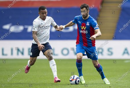 Luka Milivojevic of Crystal Palace under pressure from Gabriel Jesus of Manchester City