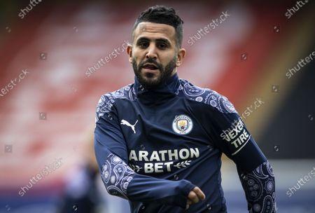 Riyad Mahrez of Manchester City warming up