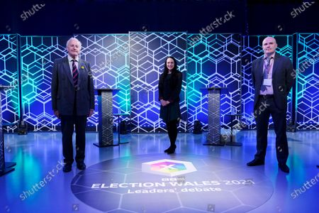 (L to R) Neil Hamilton - UKIP Wales, Amelia Womack - Green Party of England & Wales and Jamie Jenkins - Reform UK during the 2021 Election Leaders' Debate in Cardiff.
