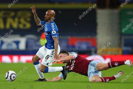 Fabian Delph of Everton and John McGinn of Aston Villa