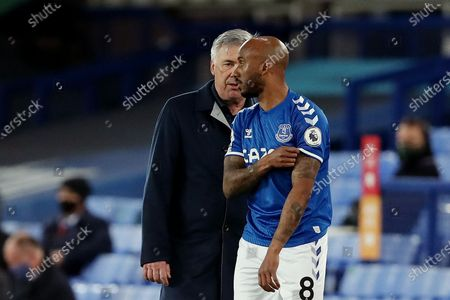 Stock Picture of Everton manager Carlo Ancelotti with Fabian Delph