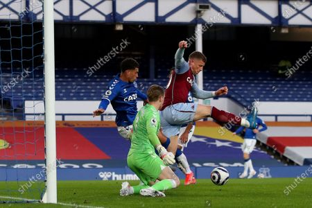 Ross Barkley  of Aston Villa attempts to score with a back heel