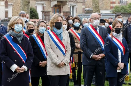 Stock Photo of (L-R) Ile-de-France region's president Valerie Pecresse, French La Republique en Marche (LREM) party's member of parliament Yael Braun-Pivet and French LREM party's member of parliament Aurore Berge attend a remembrance gathering for murdered Stephanie Monferme, a mother and local police employee, in Rambouillet, a suburb southwest of Paris, France, 30 April 2021. A Tunisian man who on 23 April stabbed to death the police employee, had watched jihadist propaganda videos just before the attack, France's anti-terror prosecutor said on 25 April 2021.