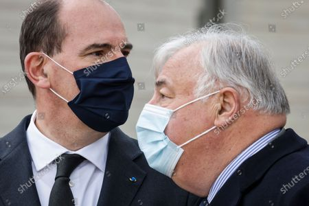 French Prime Minister Jean Castex (L) and President of the French Senate Gerard Larcher (R) speak during a remembrance ceremony for slain police employee Stephanie Monferme in Rambouillet, a suburb southwest of Paris, France, 30 April 2021. A Tunisian man who on 23 April stabbed to death the police employee, had watched jihadist propaganda videos just before the attack, France's anti-terror prosecutor said on 25 April 2021.