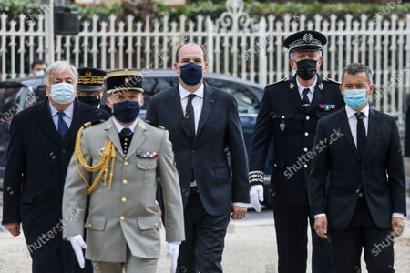 President of the French Senate Gerard Larcher (L), French Prime Minister Jean Castex (C) and French Interior Minister Gerald Darmanin (R) walk during a remembrance gathering for slain police employee Stephanie Monferme in Rambouillet, a suburb southwest of Paris, France, 30 April 2021. A Tunisian man who on 23 April stabbed to death the police employee, had watched jihadist propaganda videos just before the attack, France's anti-terror prosecutor said on 25 April 2021.