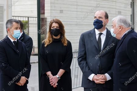 (L-R) French Interior Minister Gerald Darmanin, French Junior Minister of Citizenship Marlene Schiappa, French Prime Minister Jean Castex and President of the French Senate Gerard Larcher attend a remembrance gathering for slain police employee Stephanie Monferme in Rambouillet, a suburb southwest of Paris, France, 30 April 2021. A Tunisian man who on 23 April stabbed to death the police employee, had watched jihadist propaganda videos just before the attack, France's anti-terror prosecutor said on 25 April 2021.