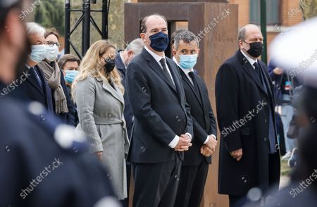French Prime Minister Jean Castex, French Interior Minister Gerald Darmanin (2R) and French Justice Minister Eric Dupond-Moretti (R) stand during a remembrance gathering for murdered Stephanie Monferme, a mother and local police employee, in Rambouillet, a suburb southwest of Paris, France, 30 April 2021. A Tunisian man who on 23 April stabbed to death the police employee, had watched jihadist propaganda videos just before the attack, France's anti-terror prosecutor said on 25 April 2021.