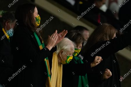 Norwich City Joint Majority Shareholder Delia Smith dances in the directors box after the goal by Kieran Dowell of Norwich City (10), 2-1