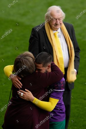 Stock Picture of Norwich City Joint Majority Shareholder Delia Smith hugs Emi Buendía of Norwich City (17) before he collects the Player Of The Season award