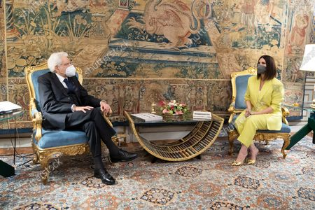 Italian Republic President Sergio Mattarella during the meeting with the Italian singer Laura Pausini after her nomination to Academy Awards 2021